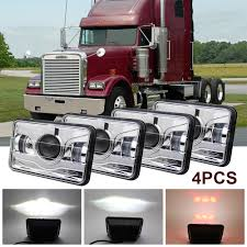 4X LED Headlight Sealed Hi/Low Beam HID Bulbs For Kenworth Peterbilt ...