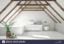 100 Interior Roof Design Modern Bathroom With White Attic Walls Wooden Framework And Roof