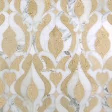 damask classique polished water jet mosaic in crema marfil and
