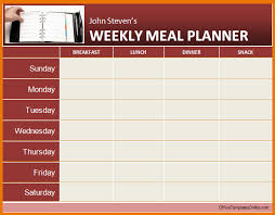 Ms fice Template weekly Meal Planner Ms Word Template