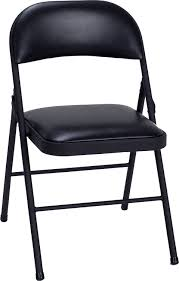 Cosco Folding Chairs And Table by Amazon Com Cosco Vinyl 4 Pack Folding Chair Black Kitchen U0026 Dining