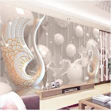 3d Wallpaper European White Swan Circle Wall Painting Bedroom Living Room TV Backdrop KTV Stripes Abstract
