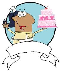 Baker Clipart Image An African American Baker Holding a Pink Birthday Cake