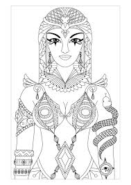 Free Coloring Page Adult Egypt Cleopatra Queen By Bimdeedee Beautiful Drawing Inspired The Most Famous Egyptian Easy