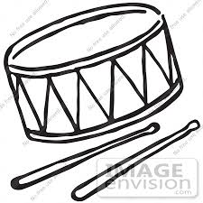 Clipart A Drum And Sticks In Black And White Royalty Free Vector