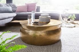 wohnling couchtisch karam aluminium gold beistelltisch orientalisch rund