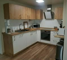 einbauküche knappstein weiß eiche chalet mit elektrogeräten