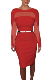 womens long sleeves fit evening dresses with belt dress red