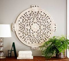 Wall Art Surprising Wood Medallion Rustic And Metal Decor Floral Carves