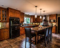 Kitchen Design With Black Appliances And Garden Perfected By Attractive Surroundings Of Your