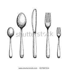 Fork and spoon with a knife drawing Cutlery vector