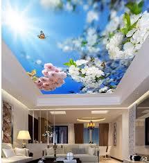 schöne sonnenschein und blau blumen wohnzimmer schlafzimmer decke 3d tapete blume decken 3d wandbild designs