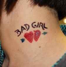 Bad Girl Airbrush Arrow In Two Hearts Tattoo On Man Side Neck