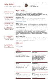 Public Relations Specialist Resume Samples Visualcv