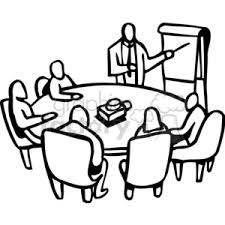 Black And White Round Table Work Meeting