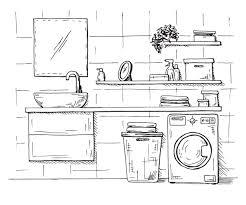 badezimmer im rustikalen haus mit bad und backsteinmauer