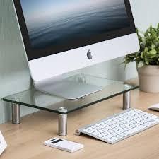 Tempered Glass Computer Desk by Wood Computer Desk Desktop Riser Stand For Home Office Desk