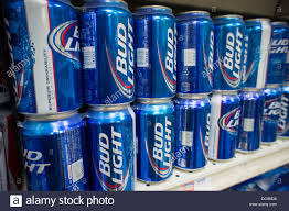 A display of Bud Light beer by the brewer Anheuser Busch in a
