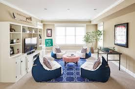 Egg Shaped Bean Bag Chairs In The Light Modern Living Room Interior