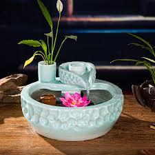 keramik brunnen dekoration einrichtungs wohnzimmer feng shui garten wasserlandschaft rad luftbefeuchter desktop aquarium porc