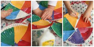 Gluing Coloured Wedges Onto Paper Plate Colour Wheel