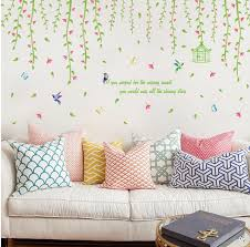 Spring Willow Vines Wall Stickers Tree Leaves Wallpaper Home Glass Window Store Showcase Decor Birds Plants