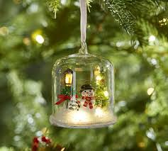 Lit Snowman in Glass Cloche Ornament