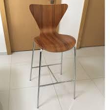 Modern Walnut High Chairs - Set Of 3