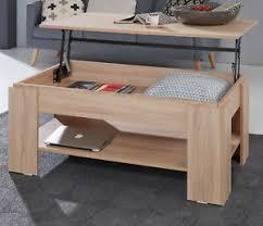 details zu couchtisch sonoma eiche wohnzimmertisch klappbar lift esstisch funktion ablage