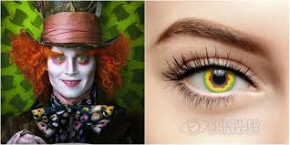 White Mesh Halloween Contacts by Alice In Wonderland Mad Hatter Contact Lenses For Halloween Costume