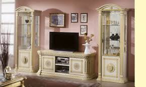 details zu wohnwand beige hochglanz klassisch tv wand wohnzimmer komplett stil italienisch