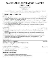Resume For Supervisor Good Job Safety Objective