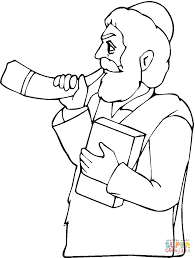 Click The Man With Book Is Playing Horn Coloring Pages To View Printable