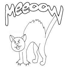 Black Cat Coloring Page For Halloween