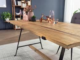 finebuy design esstisch mango massivholz natur esszimmertisch küchentisch loft holztisch massiv mit metallgestell industrial tisch