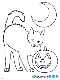 Activity Halloween Cat Coloring Page Print