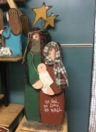 Tall Rustic Wood Christmas Craft Mary And Joseph