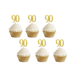 Gold Glitter 90th Birthday Cupcake Toppers Party Supplies Decorations 24 Counts