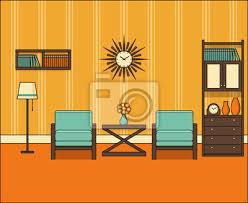 zimmer in flachem design retro wohnzimmer interieur 60er jahre bilder myloview