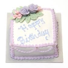 Minature Happy Birthday Square Sheet Cake w purple & pink roses