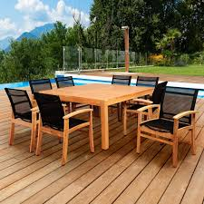 Amazonia Sunset View 8-Person Sling Patio Dining Set With Teak Table And Teak Fniture Timber Sets Chairs Round Porch Fa Wood Home Decor Essential Patio Ding Set Trdideen As Havenside Popham 11piece Wicker Outdoor Chair Sevenposition Eightperson Simple Fpageanalytics Design Table Designs Amazoncom Modway Eei3314natset Marina 9 Piece In Natural 7 Brampton Teak7pc Brown Classics