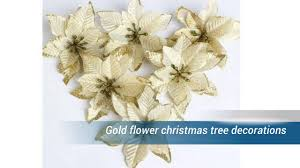 Gold Christmas Tree Tinsel Icicles by Gold Flower Christmas Tree Decorations Youtube