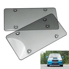 2x Bubble Tinted- Smoke License Plate Tag Frame Cover Shield Car ...