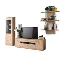 mca furniture buffalo buf52w02 wohnkombination 2 für ihr wohnzimmer 3 teilige wohnwand front balkeneiche bianco korpus eiche bianco melamin
