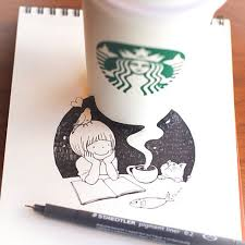 605x605 Starbucks Cups Become 3D Drawings Bored Panda