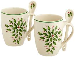 Spode Christmas Tree Mug And Coaster Set by Amazon Com Lenox Holiday Cocoa Mugs With Spoons Ivory Set Of 2