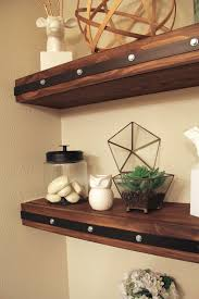 DIY Wood Floating Shelves With Metal And Rivets