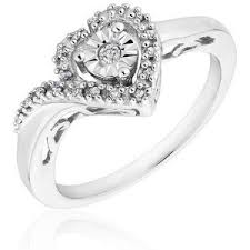 Reeds Sterling Silver Round Diamond Heart Promise Ring 1 10ctw
