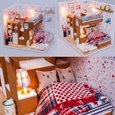 Cute Wood Dollhouse Miniature Led Light Furniture Cover Kits