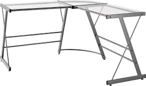 L Shaped Glass Top Desk Office Depot by Amazon Com Ameriwood Home Odin Glass L Shaped Computer Desk Gray